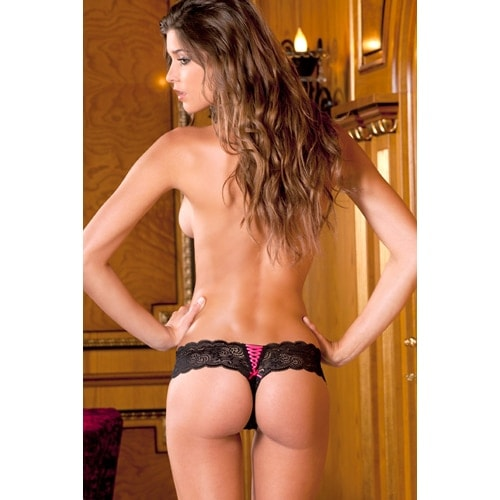 Lace Thong With Lace-Up Back